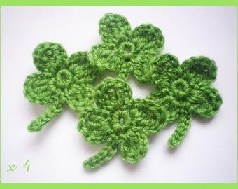 ✿•ڿڰۣ✿ Lot 4 leaf clover applique crochet woolen ✿•ڿڰۣ✿