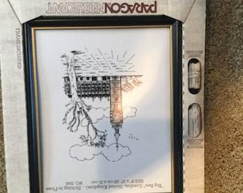 Paragon Needlecraft Stamped Cross Stitch Kit Big Ben London England W/Frame New Vintage