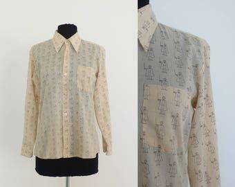 1970s Boys Patterned Long Sleeve Dress Shirt | size 18