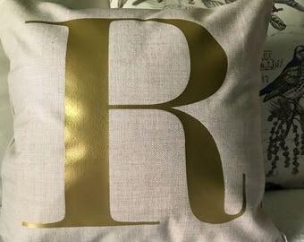 Gold Monogram Pillow