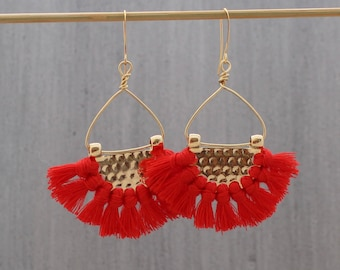 Fringe Earrings - Red Tassel Earrings - Boho Tassel Earrings - Multi Tassel Earrings - Fan Earrings - Half Circle Earrings, Tassle Earring
