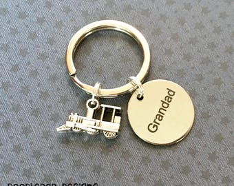 Grandad gift - Grandad keyring - Birthday gift for Grandad - Steam train keyring - Grandad keychain - Steam train keychain - Stocking filler