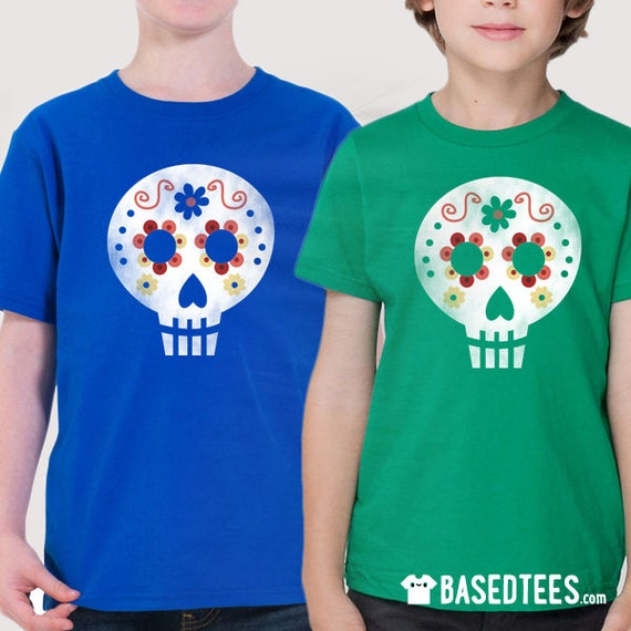 Mexican Skull - T-shirt (blue, green or black color)