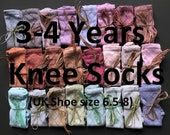 HAND DYED Knee socks in a range of beautuiful colours with diamond pattern! 3-4 year