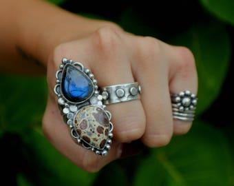 Labradorite Ring, Asteriod Jasper, Bohemian Style, Designer Jewellery, Boho Chic, Multi-Stone Statement Ring, Unique Gemstones, Gypsy Style