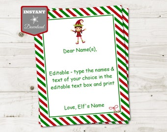 INSTANT DOWNLOAD Editable Girl Elf Letterhead / You Type Names & Message / Christmas Shop / Item #3079