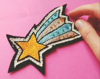 Shooting Star Patch // Hand Embroidered Sew-On Patch