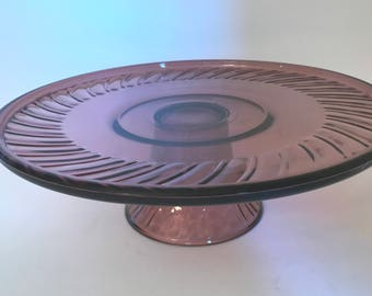 Vintage Beautiful Purple Amethyst glass cake plate or serving platter with pretty swirl design.