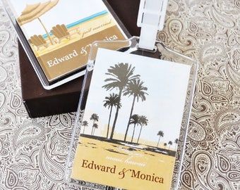 Personalized Luggage Tags - Beach Luggage Tags - Destination Wedding - Beach Party Favors - Beach Wedding - Wedding Favors (EB2151ED)