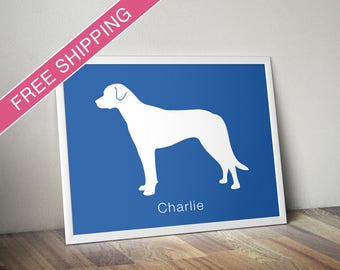 Personalized Anatolian Shepherd Silhouette Print with Custom Name - dog poster, dog gift, dog home decor