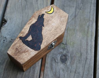 Wood Burned Coffin, Makes Great Wedding Ring Box: Wolf and Yellow Moon