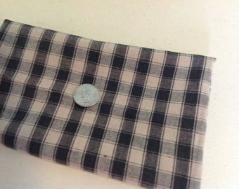 "Black Tan Plaid Fabric - 20"" x 33""  - WASHED Remnant - Scrap - Black Tan Check - Woven Plaid Cotton Fabric"