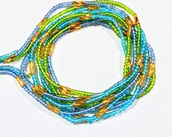 3 40-Inch Strands, African Waist Beads Belly Jewelry, Blue Green Gold, Bracelets Necklace Anklets