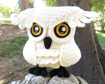 Crochet Owl - Amigurumi Owl / Stuffed Owl - Owl Plush toy / Kawaii Owl - Mr WHITE - Ready to ship.