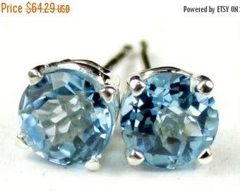 On Sale, 30% Off, Swiss Blue Topaz, 925 Sterling Silver Post Earrings, SE012