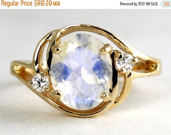 On Sale, 30% Off, Rainbow Moonstone, 18KY Gold Ring R021,