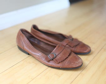 vintage brown leather fringe wingtips oxfords  womens 10