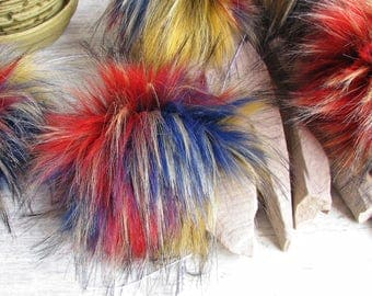 12cm, 3 Faux Fur Pom Pom, Color Furry pom pom, Large Fur Balls, Pom Pom, Colorful Fur Ball, Faux Fur Pom Pom, Rainbow Pom Pom