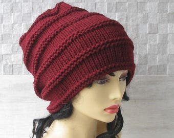 Burgundy Slouch Hat Woman Slouchy Beanie Teenager Oversized Beanie Knit Hat Womens Cap Slouch Hat Winter Baggy Hat Teen Girl