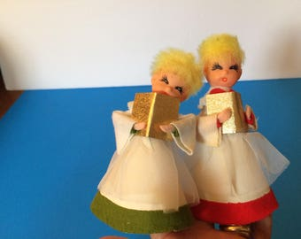 Vintage Choir Boy Angels Christmas Decorations Rubber Plastic Heads Made in Japan