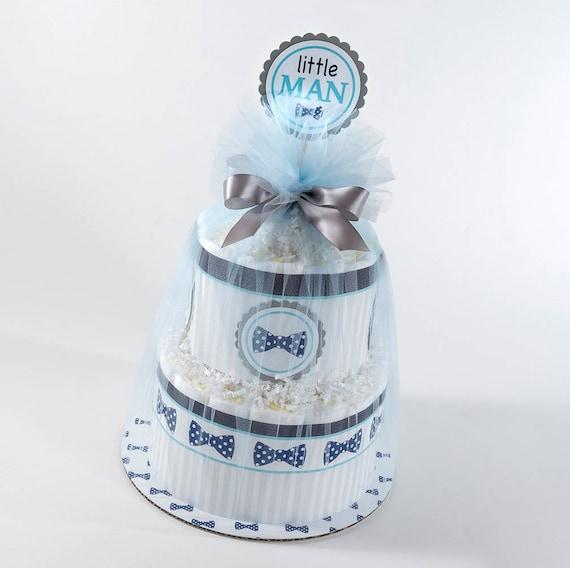 Diaper Cake - Diaper Cakes - Baby Shower Gift - Boy Diaper Cake - Baby Shower Decor - Bow Tie Diaper Cake - Little Man Theme Baby Shower
