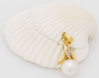 Solid 14K Yellow Gold Genuine Cultured Pearl & Natural Diamond 1.4 Grams