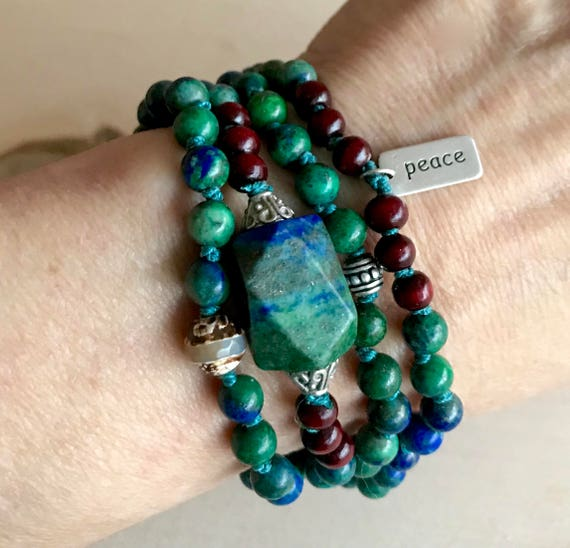 Mala For Intuition - Azurite & Rosewood Mala Beads Bracelet  - Sundance Jewelry  - Boho Jewelry - Third Eye Chakra Mala -Yoga Jewelry