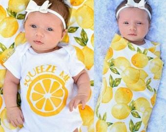 Newborn Swaddle Set, Baby Swaddle Set, Summer Baby Shower Gift, Baby Girl Clothes, Receiving Blanket, Flannel Baby Blanket, Lemon, Liv & Co™