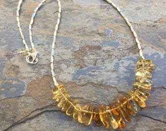 Citrine Necklace, Citrine and Sterling Silver Necklace, Citrine Nugget Necklace, 18 inches