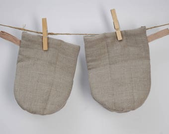 Set of 2 Natural grey linen Oven Mitt Pot Holder Kitchen Gloves Linen potholders Burlap potholders Rustic potholders Oven Mitts Potholders