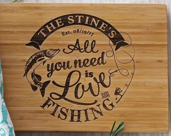 Fishing Personalized Cutting Board as Wedding Present for Dad or Fisherman or Anniversary Gift Birthday Present Christmas Gift for Him