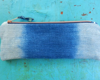 Herringbone Linen Pencil Case Indigo Ombre hand dyed Pochette vintage Grainsack Blue Copper Zipper Pouch