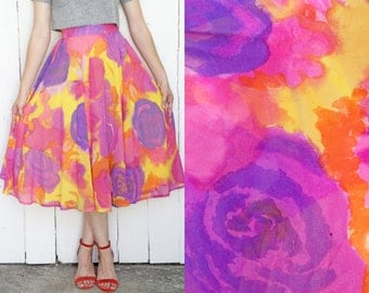Vintage 80s Skirt | 80s High Wiast Floral Print Circle Skirt Purple Yellow Pink | Small S