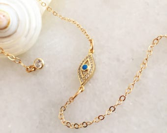 Gold Evil Eye Pendant - Evil Eye Necklace - Protection Jewelry