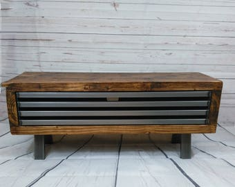 Tv stand rustic industrial tv unit with drop down metal front industrial chic