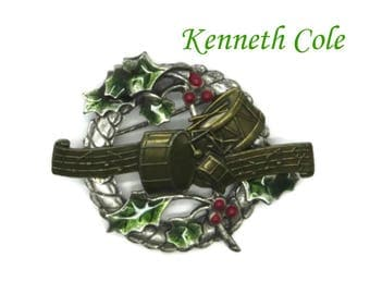 Vintage Brooch - Signed KC Holiday Pin, Xmas Brooch, Musical Pin, Wreath Pin, Enameled Pin, Kenneth Cole Brooch