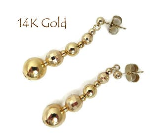 14K Gold Pierced Earrings - Vintage Dangling Ball Studs, Perfect Gift, Gift Box, FREE SHIPPING