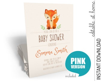 Fox Baby Shower Invitation, Fox Baby Shower, Baby Shower Invitation Fox  INSTANT DOWNLOAD You