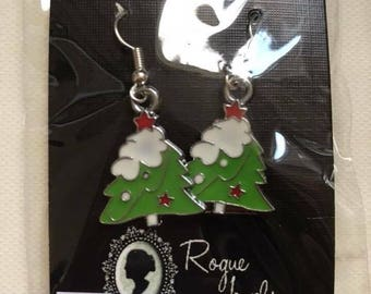Enamel christmas tree silver colour earrings steampunk earrings steampunk jewellery