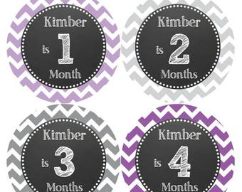 PERSONALIZED Baby Girl Month Stickers Monthly 12 Month Sticker Monthly Baby Stickers Baby Shower Gift Photo Prop Milestone Sticker 513