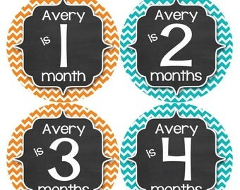 PERSONALIZED Baby Boy Month Stickers Monthly 12 Month Sticker Monthly Baby Stickers Baby Shower Gift Photo Prop Milestone Sticker 491