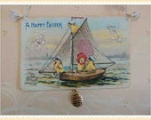 Vintage style Easter ornament, card, decoration, antique, postcard, victorian, paper #E-4
