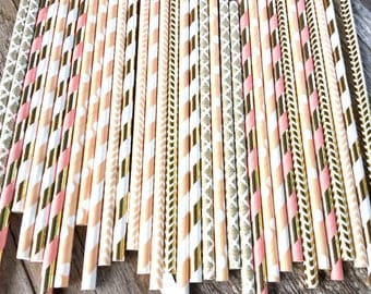 24 straws SUNSET blush peach coral and metallic gold striped stripes paper straw first birthday bridal baby shower damask orange