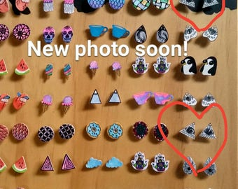 New photo soon! Eye Pyramid Illuminati Handmade Stud Earrings Shrink Plastic Halloween
