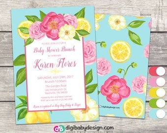 BRUNCH Floral Baby Shower Invitation, Lemons and Roses, PDF JPG digital printable
