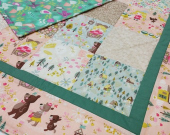 Goldilocks Baby Quilt-Quilted Baby Blanket-Woodland Patchwork Baby Bedding-Bears-Forest-Baby Shower Gift, Homemade-Handmade-Classic