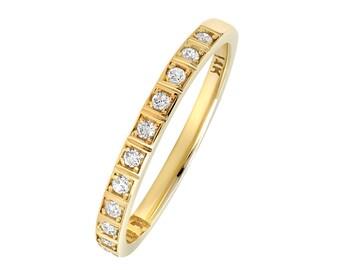 Women 2mm 14K Gold Wedding Band 0.17cttw Diamond Stackable Half Eternity Ring(GDR116Y)