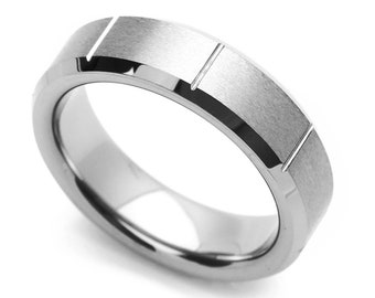6MM Comfort Fit Tungsten Carbide Wedding Band Grooved Beveled Edges Ring(CT447RTN)