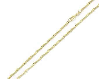 Men Women 14K Yellow Gold Chain 2mm Singapore Chain Necklace(MN131-174)