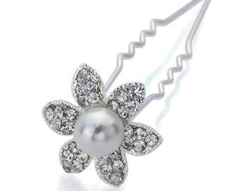 Hand Made Hair Jewelry Flower Hair Bun Stick for Brides, White Rhinestone(SOW9001-cl)